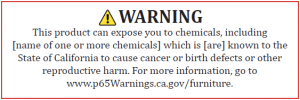 New Proposition 65 Warning